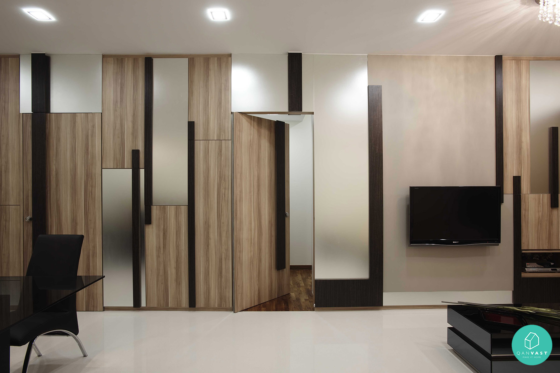 Smart designs for small spaces in singapore homes for Living room door designs